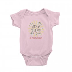Babywears.my It's A Girl Addname with Rainbow and Clouds T-Shirt For Girls Newborn Personalizable Designs