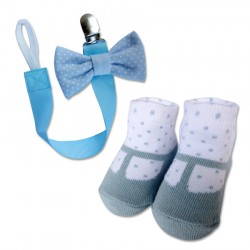Bumble Bee Baby Pacifier Clip with Socks Set (Polka Blue) (XLA0015)