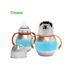 Haakaa 280ml Wide Neck Stainless Steel Thermal Baby Bottle (Blue)