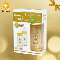 Simba Ppsu Feeding Bottle (TWIN PACK) - Wide Neck 270ml (9oz) Yellow