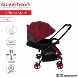 'Sweet Heart Paris ST260 Compact Dirt Repellent Stroller (Red) with Reversible One-Handed Folding System'