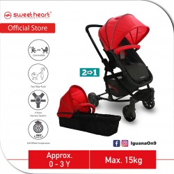 Sweet Heart Paris VARENNE 2 in 1 Reversible and Convertible Travel System Stroller ST516 with Carrycot and Two Way Push