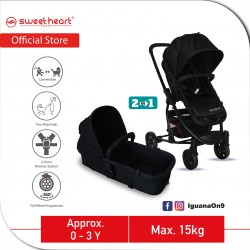 Sweet Heart Paris VARENNE 2 in 1 Reversible and Convertible Travel System Stroller ST516 with Carrycot and Two Way Push (Black)