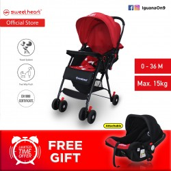 Sweet Heart Paris 2 in 1 ST88T Travel System Stroller with Two Way Push (Red)
