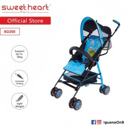 'Sweet Heart Paris BG200 Umbrella Stroller Buggy (Blue) with Steel Frame and Back-Rest Reclining'