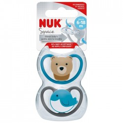 NUK Space Silicone Soother S2 With Cover (6-18m) *2pcs*