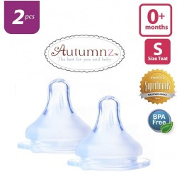 Autumnz MAXY Soft Silicone Teat SLOW Flow *2pcs* (0+ months / Round Hole)