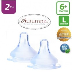 Autumnz MAXY Soft Silicone Teat FAST Flow *2pcs* (6+ months / Round Hole)