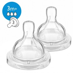 Philips Avent Classic + Silicone Teats 3M+ 3H (Pack of 2)