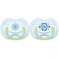 Philips Avent Contemporary Free Flow Soother 0-6M (Twin Pack) Boy