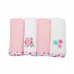 OWEN Baby Terry Washcloth, 4 Piece Set (PINK)