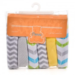 OWEN Baby Knit Washcloth, 6 Piece Set (YELLOW/GREY)