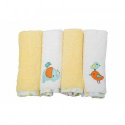 OWEN Baby Terry Washcloth, 4 Piece Set (YELLOW)