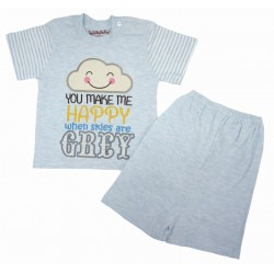 Trendyvalley Organic Cotton Short Sleeve Baby Shirt and Short Pants (Blue Cloud)